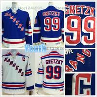 Wholesale 2016 Youth NY Rangers Wayne Gretzky Jersey Youth New York Rangers Jerseys Kids Home Blue Road White Wayne Gretzky Hockey Jersey