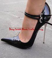 Wholesale HOT Extreme high heel cm PU quot Sexy fetish High Heel TWO BUCKLE STRAP Single Sole sex PUMP with metal heel BIG YARD US dropshipping