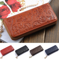 best free zip - New fashion the best genuine leather zip around flower pattern lady women wallet purse handbag long colors