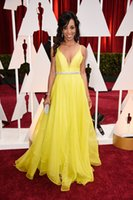 robinson - Sheer Long Evening Dresses Custom Made Shaun Robinson th Oscar Awards Celebrity Dress Runway Yellow Sash Crystal Designer Occasion Dresses