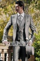 best mens winter coat - Morning Coat One Button Light Grey Groom Tuxedos Groomsmen Peak Lapel Best Man Mens Weddings Prom Suits Jacket Pants Vest Tie NO