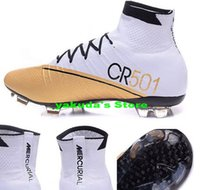 football training - 2016 New men Cristiano Ronaldo Mercurial Superfly Iv FG CR7 Boot White Golden Soccer Shoes mens discount Cheap Training Sneakers Cleats