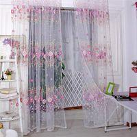 Wholesale Fashion Sunflower Tulle Voile Window Curtain Drape Panel Sheer Scarf Valance Hot