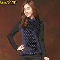 Wholesale 2015 new winter plus thick velvet high collar bottoming shirt stitching net Shayi Ms Slim was thin long sleeved shirt