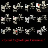 Wholesale Christmas Promotion Gift Rhinestone Crystal Cufflinks Diamond Inset Cuff Links for Male French Shirt Mens Jewelry Set Cheap price