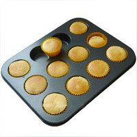 Wholesale 12 cups nonstick carbon steel round cake mold baker s choice baking tool bakeware tray kids favorate bakery cookie pan