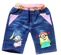 Wholesale Kids Clothing Despicable Me Cartoon Casual Pants Minions pants Boys Minions Denim Trousers ME2 Kids Short Jeans p l