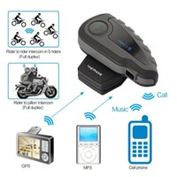 Wholesale Motorcycle Bluetooth Helmet Intercom Interphone Wireless Headset Intercom Keep Chat For Riders with Remote Controller NFC FM M