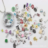 Charms Traditional Charm many designs Wholesale - 500pcs floating locket charms mixed styles floating locket charms for glass memory living floating locket pendant Xmas gift