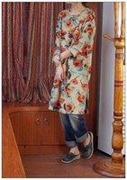 Wholesale 2015 New Women Original Design Retro Nostalgia O neck Manual Buttons Three Querter Sleeve Side Slits Loose Robe Cotton Linen