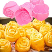 Wholesale Hot Sale Silicone Rose Muffin Cookie Cup Cake Baking Mould Chocolate Maker