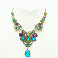 Wholesale Multi Color Water Drop Statement Necklace Pendants Set Auger Maxi Necklace Fine Jewelry Vintage Colar For Women