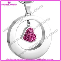 beautiful red jewellery - IJD8251 stainless steel cremation jewelry pendants for ash pink crystal heart in circle beautiful women necklace fashion jewellery
