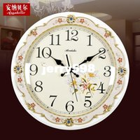 antique tuba - 100 real picture Annabel idyllic wooden table clocks hanging modern retro wall clock mute simple tuba Continental Creative