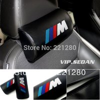 vip - 2Pcs VIP Leather Embroidery M Auto Neck Pillows Headrest For BMW Any Car
