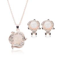 Women's australian opal earrings - Best Seller Jewelry Set Rose Gold Plated Australian Full Opal Pendant Necklace Crystal Flower Earring Necklace Set