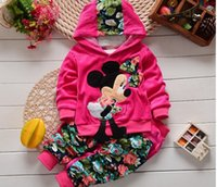 Wholesale Hot new spring and autumn children baby girls velvet long sleeved cartoon hoodie jacket pants two piece suit