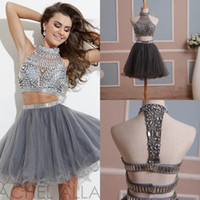short tulle prom dress - In Stock Homecoming Dress Two Pieces Gray Tulle Graduation Gown with Rhinestones and High Neck Short Prom Gown Real Pictures Size