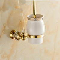 Wholesale And Retail Crystal Styrl Bathroom Ceramic Toilet Brush Cup Brush Holder Golden Brass Holder Wall Mounted
