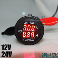 Wholesale DC V V Car Boat Motorcycle Red LED Digital Display Current Voltage Gauge Dashboard Black Measuring Range V V