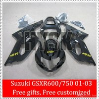 Wholesale Custom K1 Fairing Kit For SUZUKI GSXR600 GSXR750 GSX R600 GSX R750 GSXR Glossy Black Bodywork Free Gifts