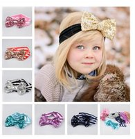 Wholesale New Christmas Fashion Baby girls Bow headbands baby sequins bowknot headband girls Striped cotton headbands Handmade baby headbands