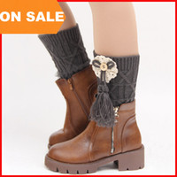 Wholesale 8 colors woolen tassels bow button leg warmer Solid lace knit boot cuff for women autumn winter boot warm stocks Christmas gift