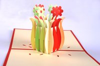 Wholesale Greenfox paper carving paper cut d vase gratitude three dimensional card Creative CARDS by hand