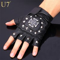 Wholesale 2015 New Fashion Fingerless Mens Leather Driving Gloves With Maltese Cross Rivet Black Military Tactical Gloves Mittens H719