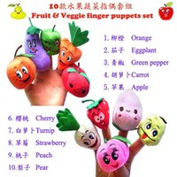 Wholesale 10 Styles Fruits and Vegetables Finger Puppets Cloth Doll Finger Puppets Hand Puppets For Kids Students Talking Props B001