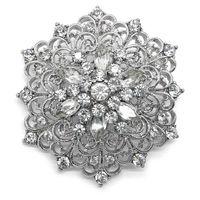 adorn crystal glass - 1 Inch Vintage Style Rhodium Silver Plated Clear Rhinestone Vintage Swirl Adorn Bridal Brooch with Marquise Crystals