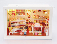 Wholesale Diy Doll house birthday cake shop happiness prank kiss special handmade model dollhouse toy send dolls