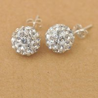Wholesale Fast Ship Pairs White Shamballa Disco Austrian Crystal Beads Sterling Silver Stud Earrings Back Stopper