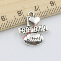 word charms - 18pcs Tibetan Silver Plated Word I Love Football Charms Pendants for Jewelry Making DIY Handmade x18mm