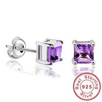 Cheap Wholesale-Square Gemstone Jewelry Natural Amethyst Citrine Garnet Peridot Topaz Earrings Stud Genuine 925 Sterling Silver Jewelry Brand