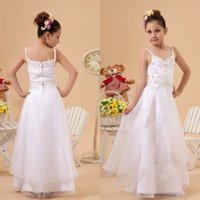 Wholesale 2015 Pageants Dresses for Girls A Line Spaghetti Straps Lace Appliques Beads Beading Ankle Length Flower Girl Dress for Wedding Party