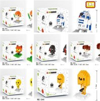 Wholesale Stars Wars Nanoblocks Mini Building Blocks Cartoon Boys Girls DIY Bricks Movies Figure Block Toys package box