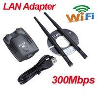 Wholesale High Power USB Network Card Wireless Adapter N M dBi Two Antenna wifi LAN Adapter Retail Box
