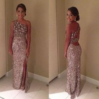 Wholesale New Arrival Champagne New One Shoulder Sequins Custom Prom Gowns Custom Made Formal Evening Dresses