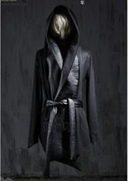 Wholesale Fall New Fashion Mens Wool Pea Coat Hooded Cloak Jacket Men Overcoat Winter Dress Gothic Trench Coats Harajuku Leather Designer