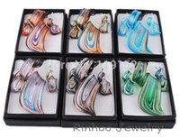 glass jewelry box - 2015 newly Promotion Gift Box Packing Twist Gold Dust Lampwork Glass Pendant Necklace Earrings Jewelry Set Sets