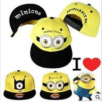 Wholesale Minions Cap Kids Snapback Hat Caps Childrens Cartoon Baseball Cap Hip Hop Hats Despicable Me Caps Boy Girl Student Minion Cap for boys