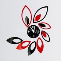 Wholesale Newest Stylish Intelligence Modern Flower Sticker DIY Mirror Wall Clock Sticker Home Office Study Decoration