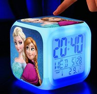 Wholesale 3D Cartoon Despicable Me Clock Frozen LED Colors Change Lighting Digital Alarm Clock Princess Anna Elsa Thermometer Glowing Table Clocks