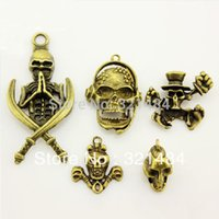 Wholesale 50pcs mixed skulls Vintage Antique Bronze Brass Metal Pendant Jewelry Charms