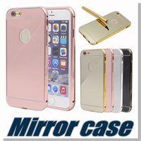 Wholesale New Aluminum metal bumper frame case with mirror Back cover for iphone S Samsung note S5 Without Package