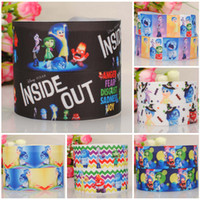 Wholesale 100 yards quot mm lovely inside out grosgrain ribbon tape Anger Fear Disgust Sadness Joy printed handmade DIY ployester ribbon HX