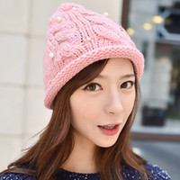 cotton wool roll - Winter Warm Peaked Cap High Quality Pearl Sequins Acrylic Woolen Knitting Hat Crochet Roll up Hem Caps Korea Style Wool Beanie Hats H100