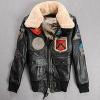 Wholesale Racing bomber jackets AVIREX flight jackets thicken cow leather women flying jackets lapel neck collar YKK zipper genuine leather jackets