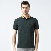 cotton polyester shirts - High Quality Men T Shirts POLO Dot Print Polyester Cotton Short Sleeve Men Business Office Lapel Sleeve Shirt Patchwork Size M L XL XXL